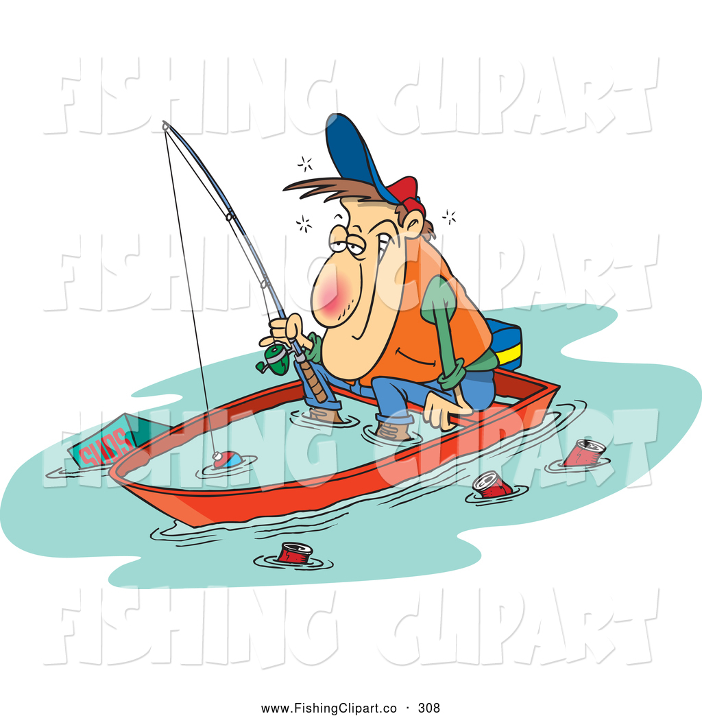 Clip Art of a White Cartoon Drunk Man Fishing in a Sinking Boat by.