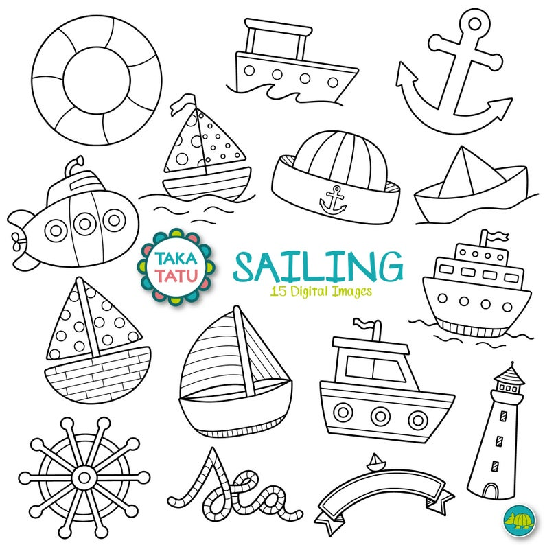 Sailing Digital Stamp.