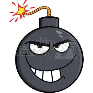 Royalty Free RF Clipart Illustration Evil Bomb Cartoon Character clipart.  Royalty.