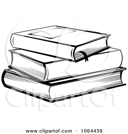 Book Stack Clip Art Black And White.