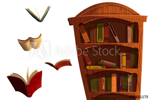 Clip Art Set: The Books and BookShelf isolated on White Background.