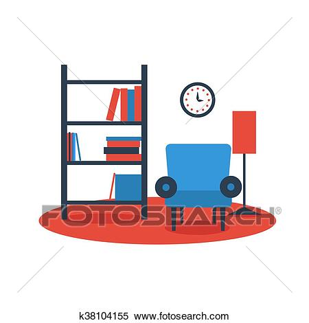 Bookshelf armchair interior design Clipart.