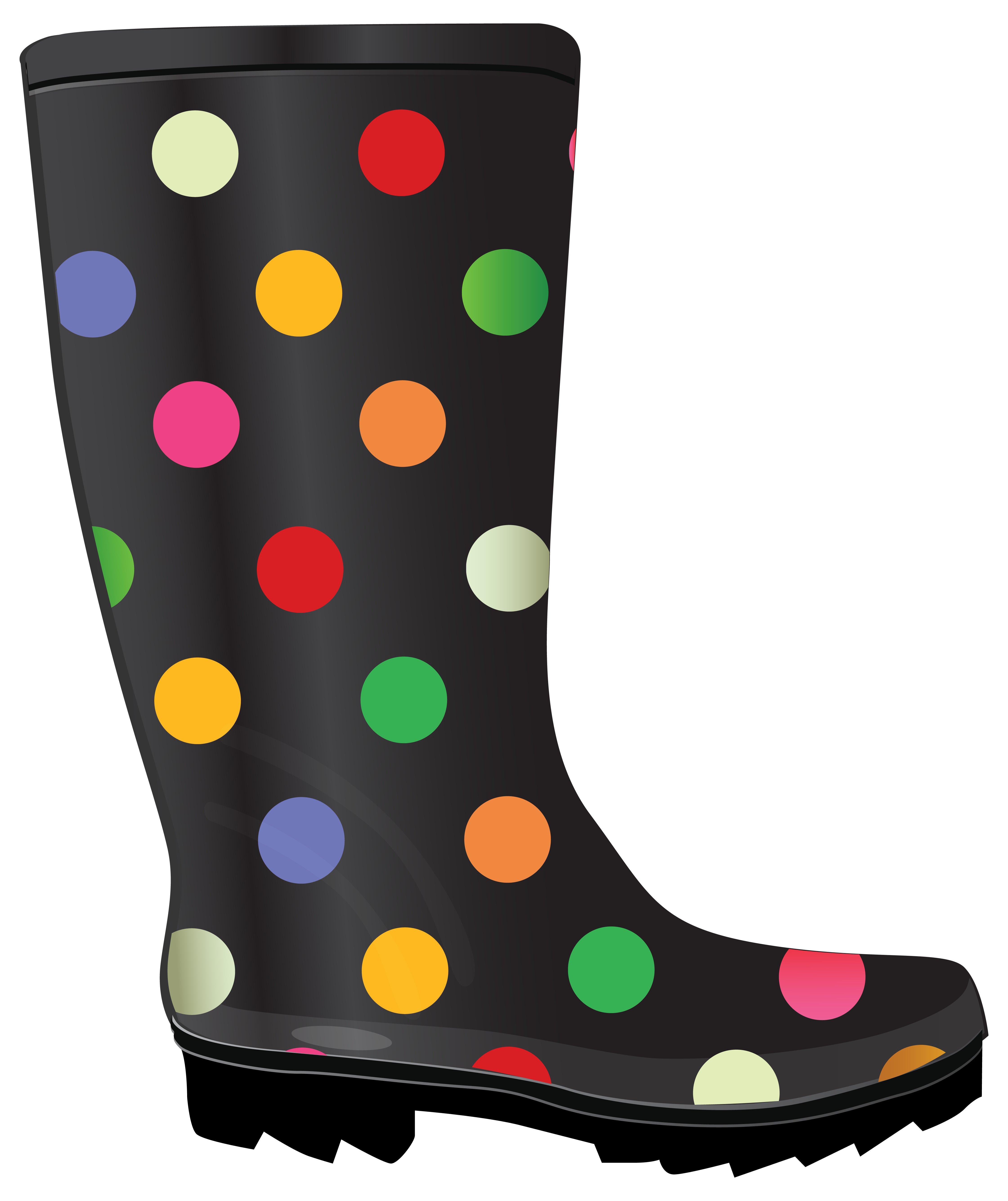 Dotted Rubber Boots PNG Clipart Image.