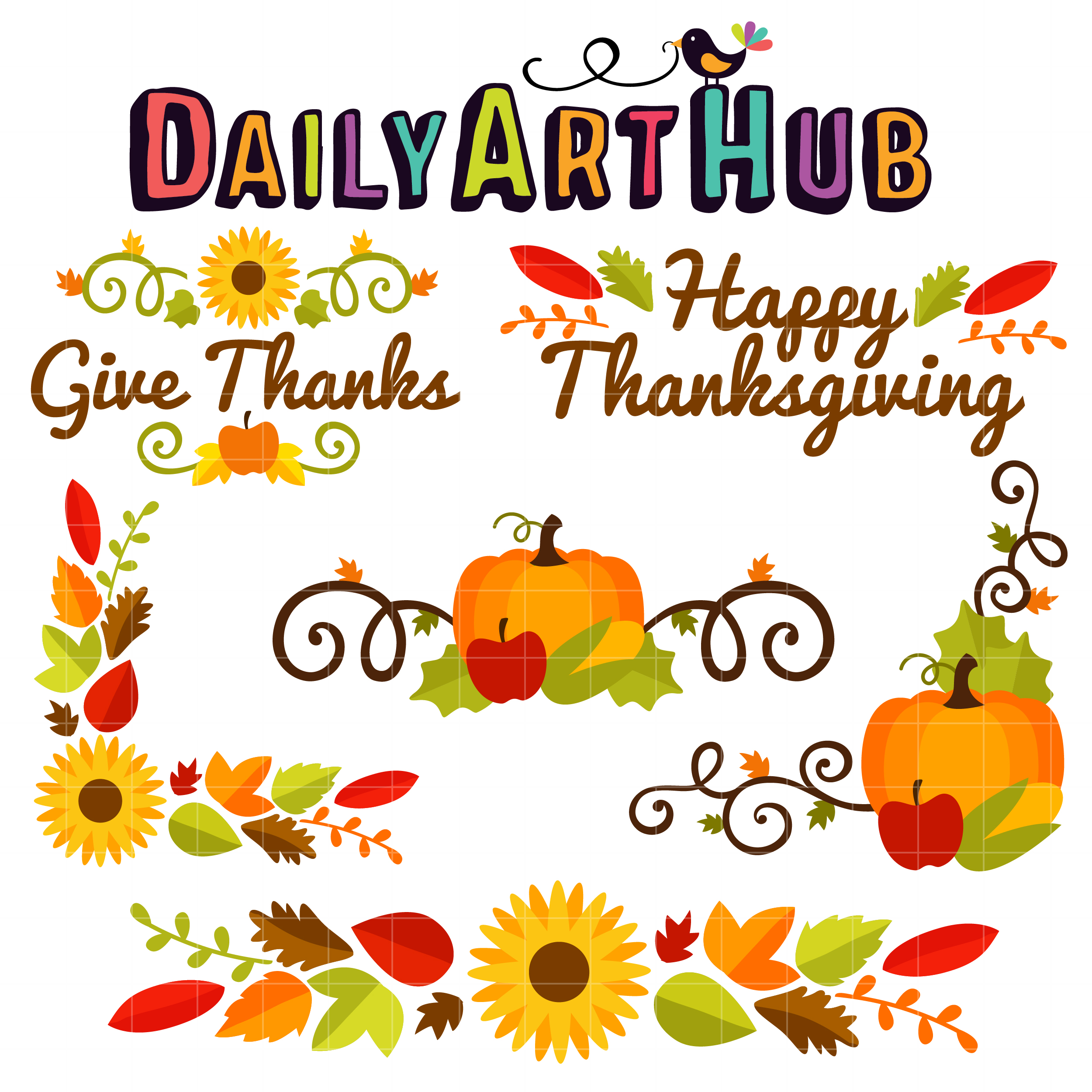 Thanksgiving Corners & Borders Clip Art Set.