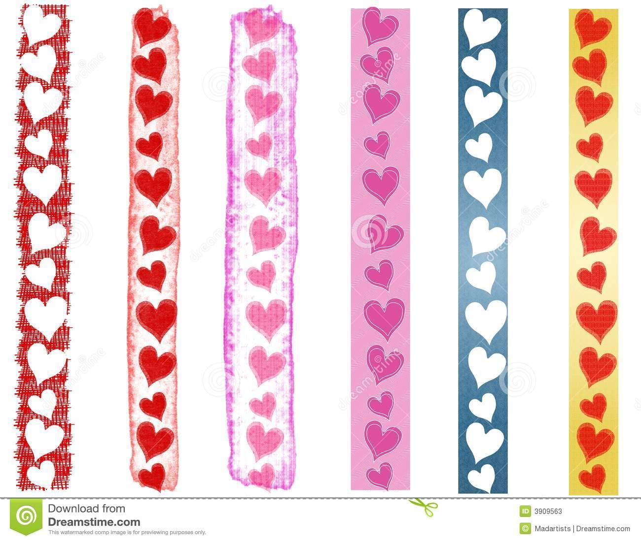 Various Valentine's Day Heart Borders 2 Stock Illustration.