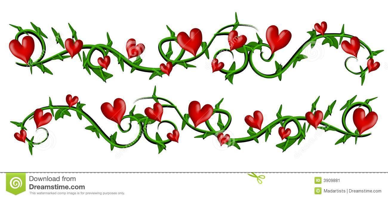 Vine With Valentine Hearts Borders Stock Illustration.
