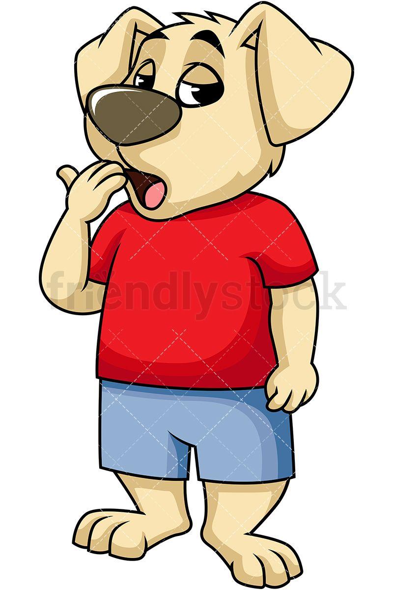 Bored Dog Mascot Character Yawning.