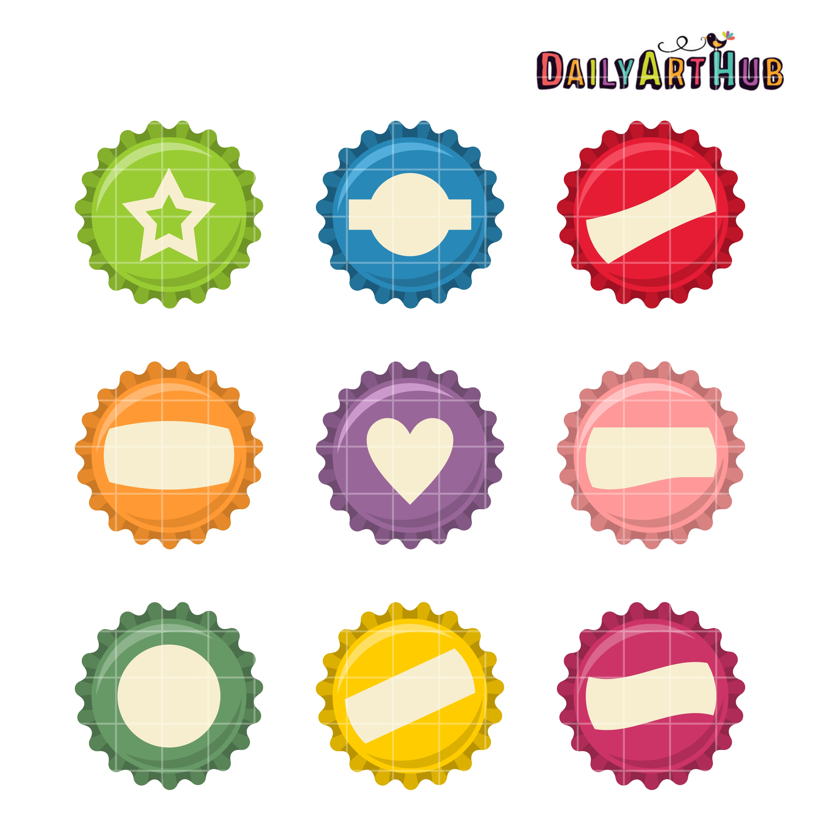 Bottle Caps Clip Art Set.