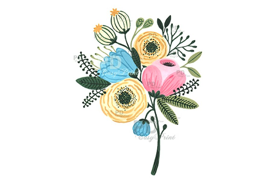 Flower Bouquet Watercolor Clipart.