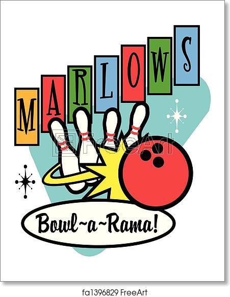Free art print of Bowling Ball Pins Retro Clip Art.