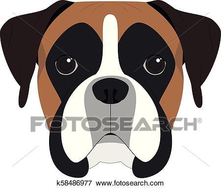 Boxer dog isolated on white background vector illustration Clip Art.