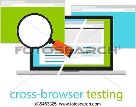 Clipart of cross browser testing web software development process.