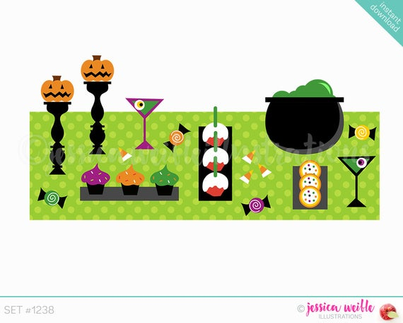 Instant Download Halloween Table Buffet Cute Digital Clipart, Table.