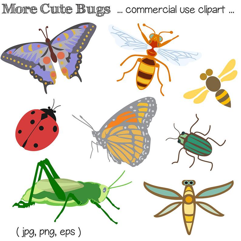 Bug Clipart, Bug Clip Art, Insect Clipart, Insect Clip Art, Insects, Bugs,  Digital Download, Royalty Free.