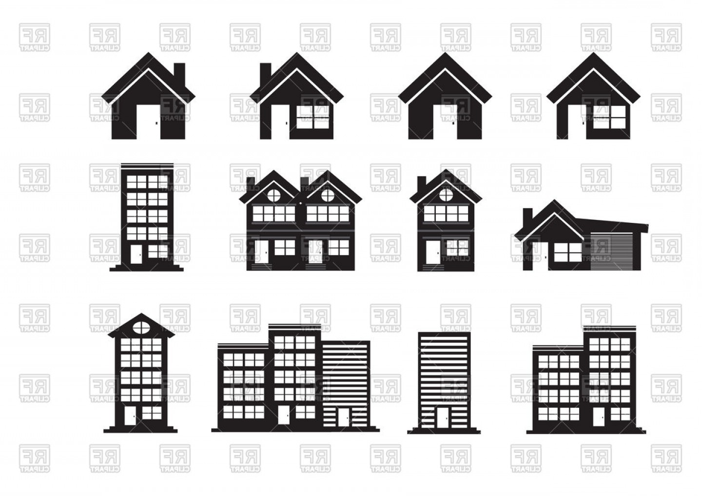 Building Icon Set Vector Clipart.