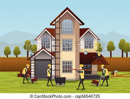 Building, house construction design & concept. People working on house  development.