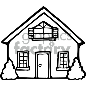 house 001 bw clipart. Royalty.
