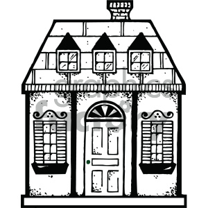house 004 bw clipart. Royalty.
