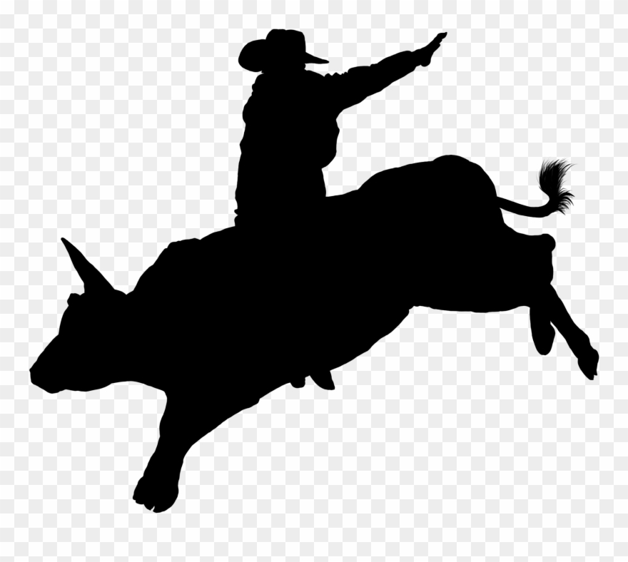 Vector Freeuse Stock Bull Riding Clipart.