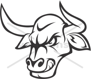Angry Bull Head Logo Outline.