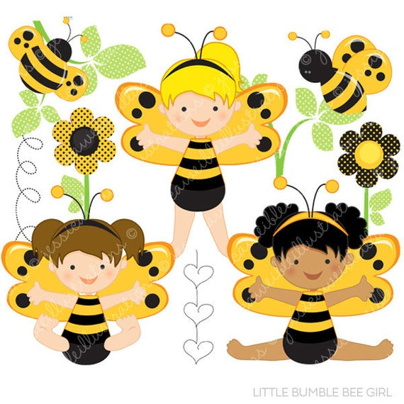 Little Bumble Bee Girl Cute Digital Clipart for Commercial or.