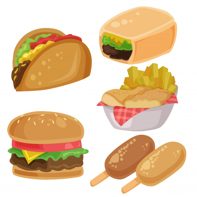 Junk food vector clip art burger burrito fries chips element set.