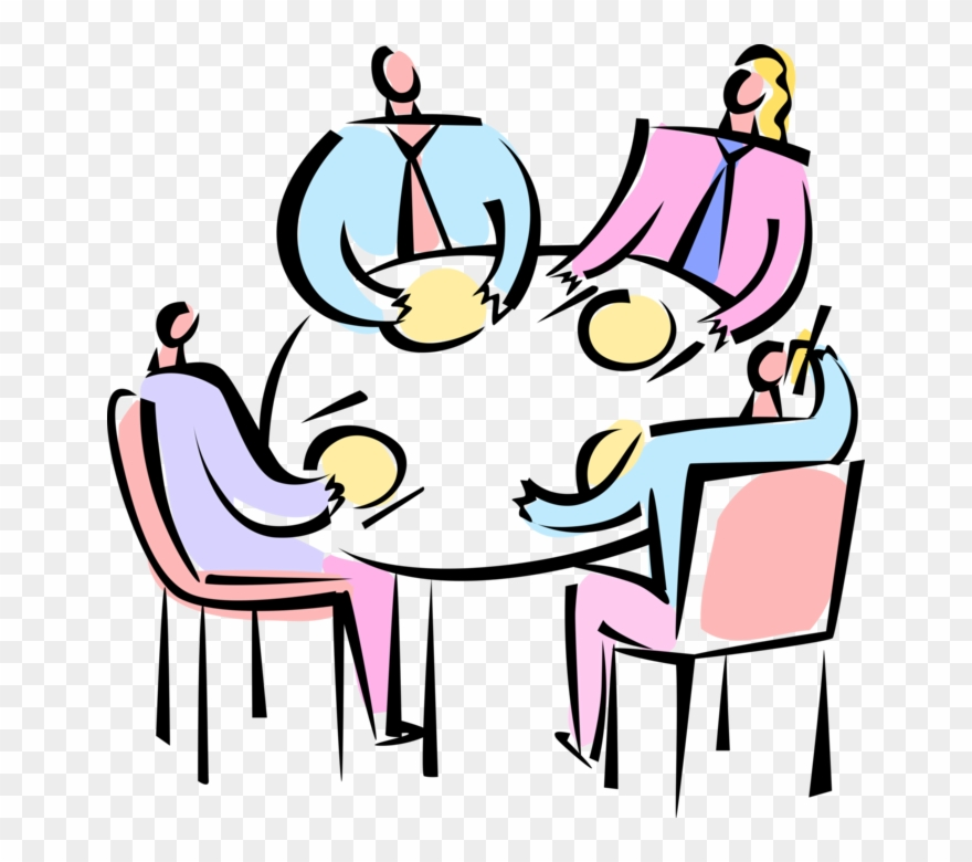 Vector Illustration Of Business Meeting And Discussion.