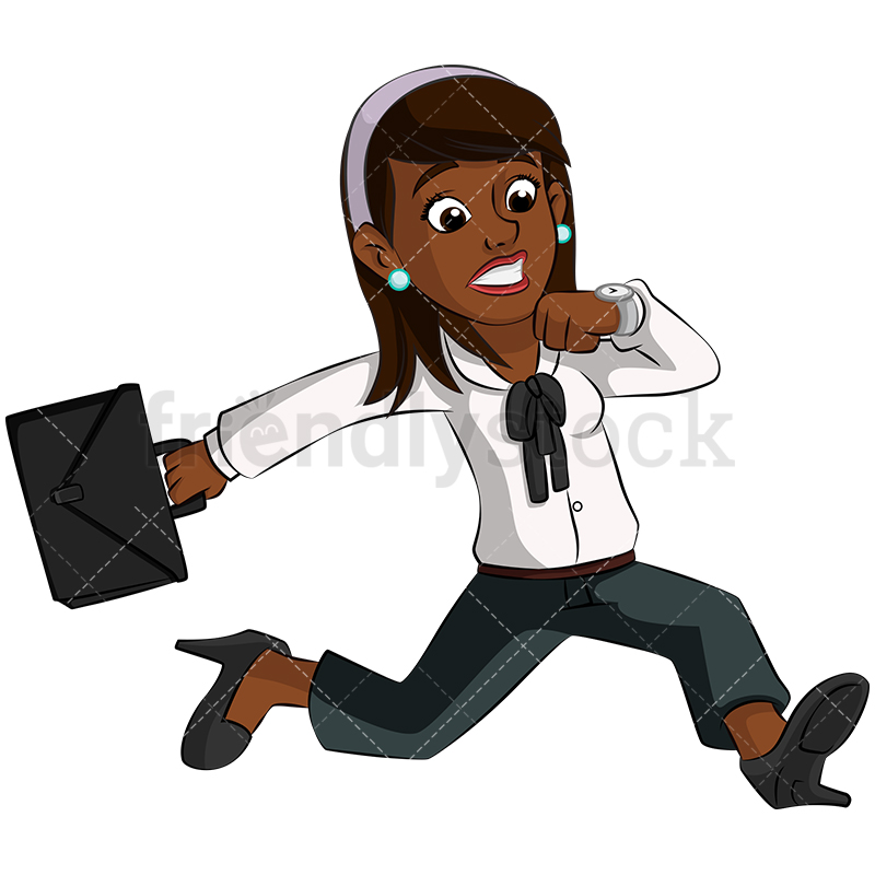 A Black Businesswoman Rushing While Checking Her Watch.
