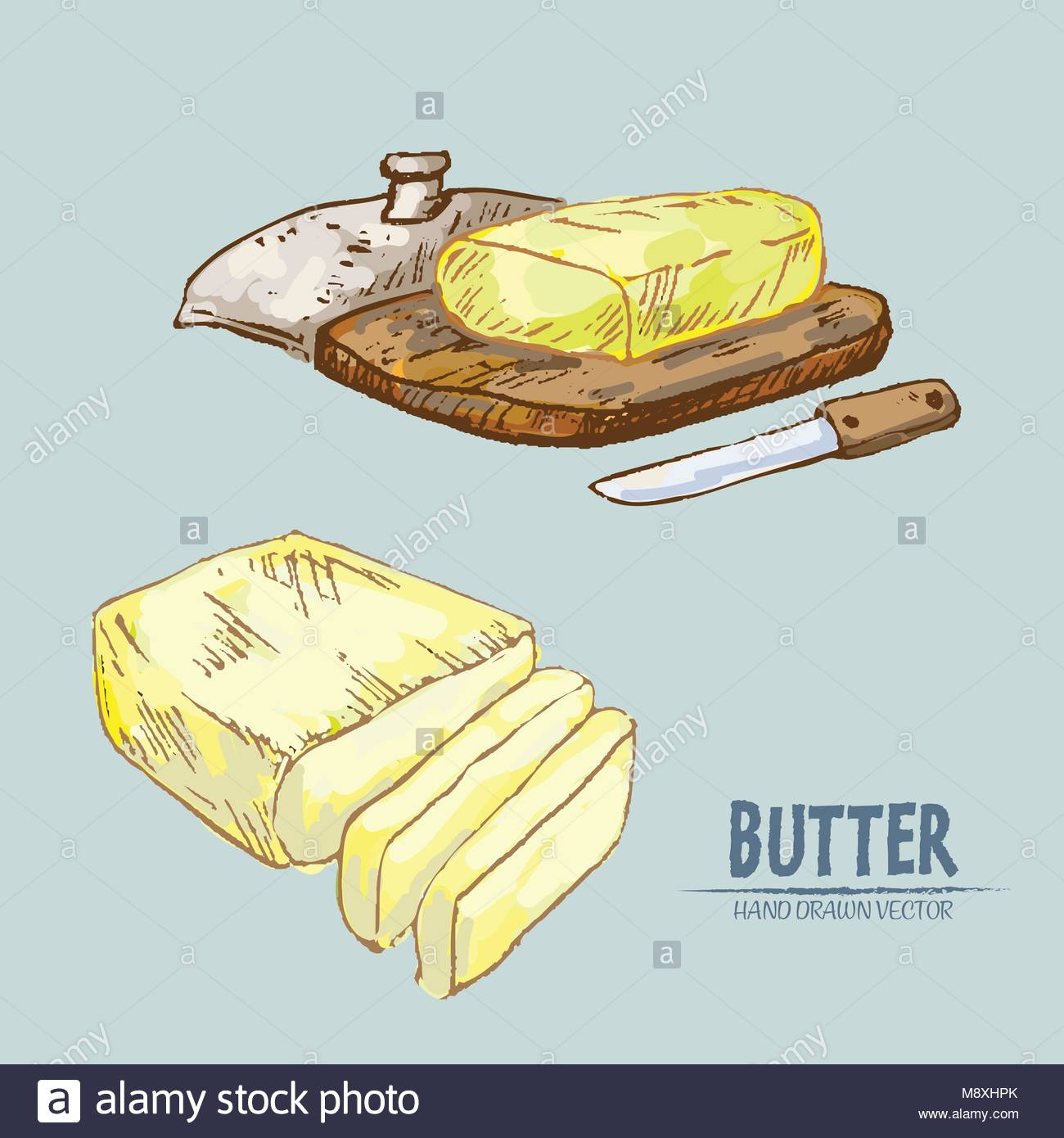 Food Illustration Retro Clip Art Butter Stock Photos & Food.