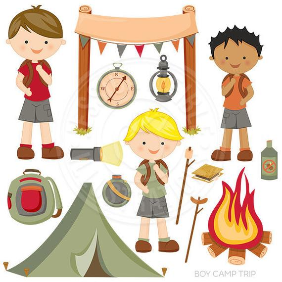 Boy Camp Trip Cute Digital Clipart, Camping Clip Art, Tent, Backpack.