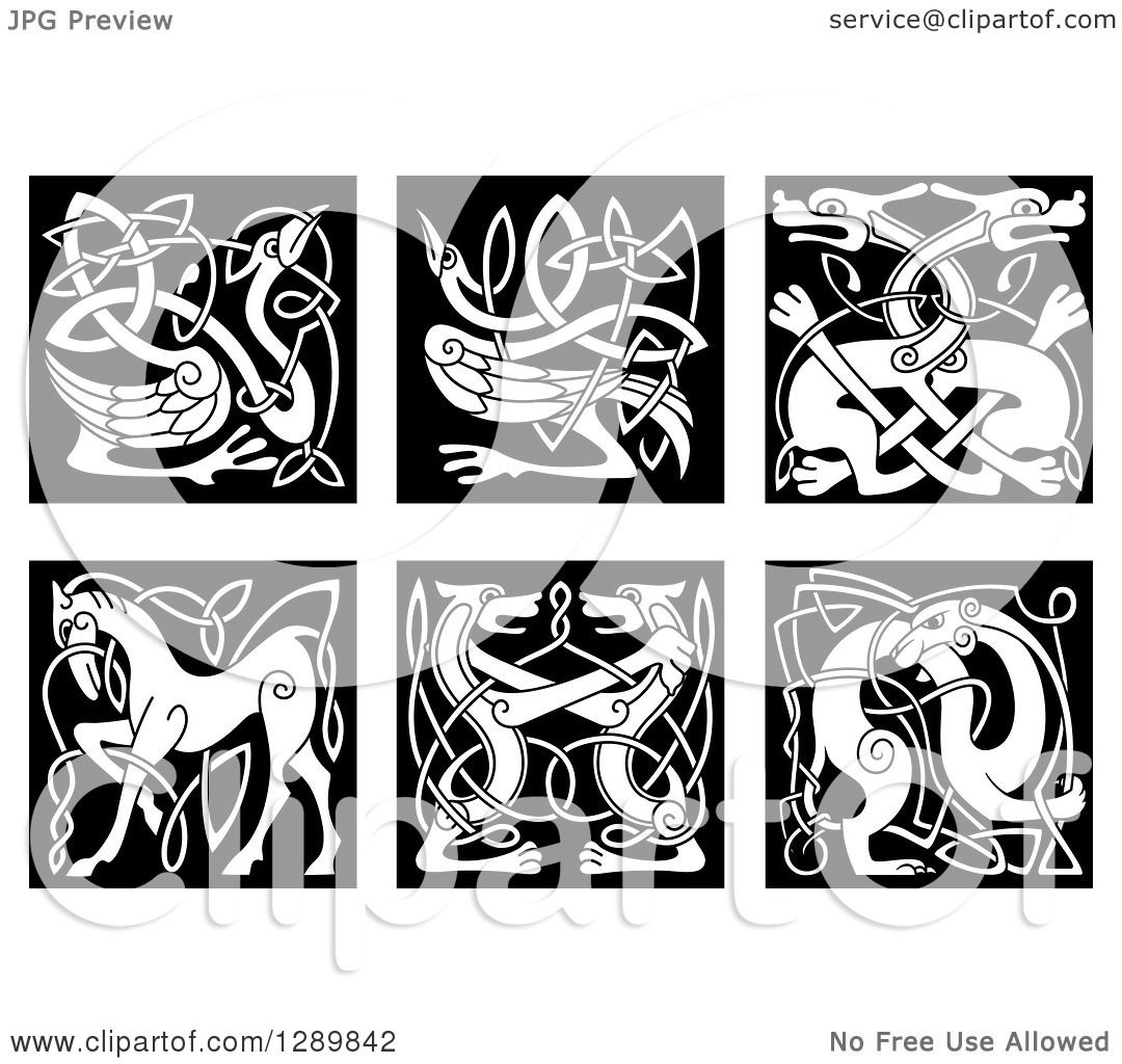 Clipart of Black and White Celtic Knot Animals 2.