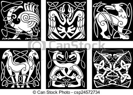 Vectors of Abstract animals and birds in celtic style.