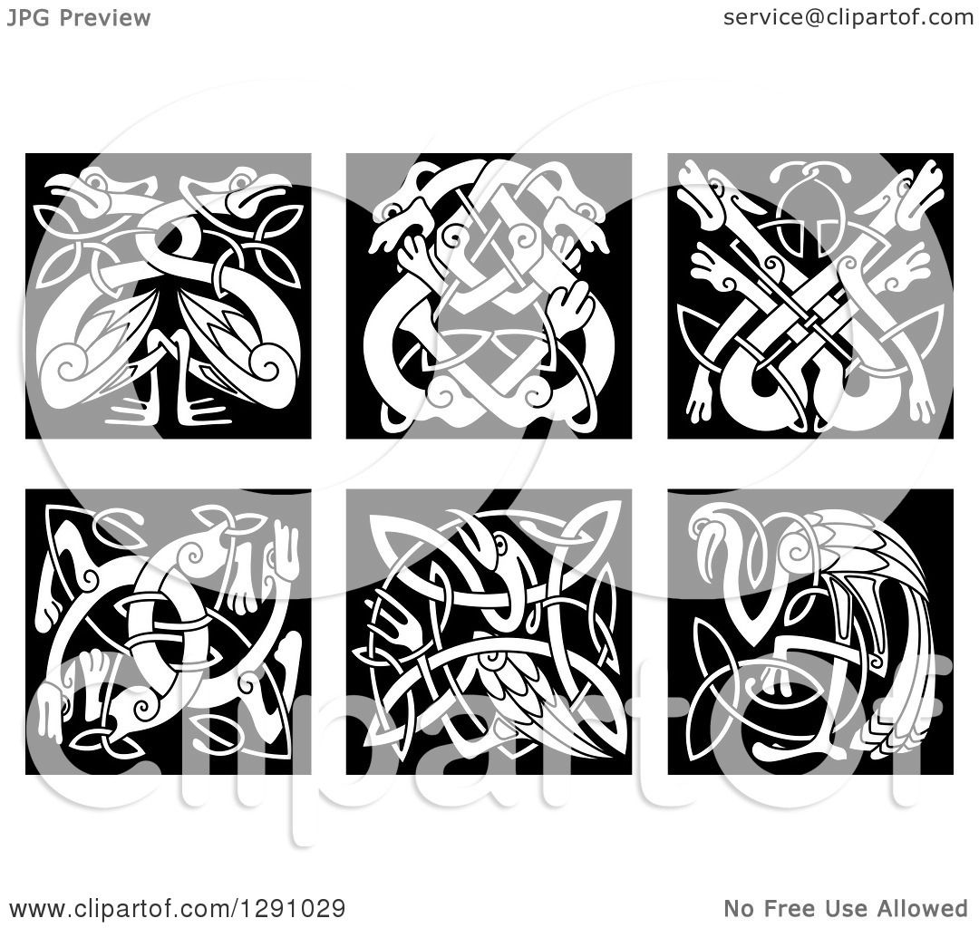 Clipart of Black and White Celtic Knot Stork, Heron, Dog, Wolf.