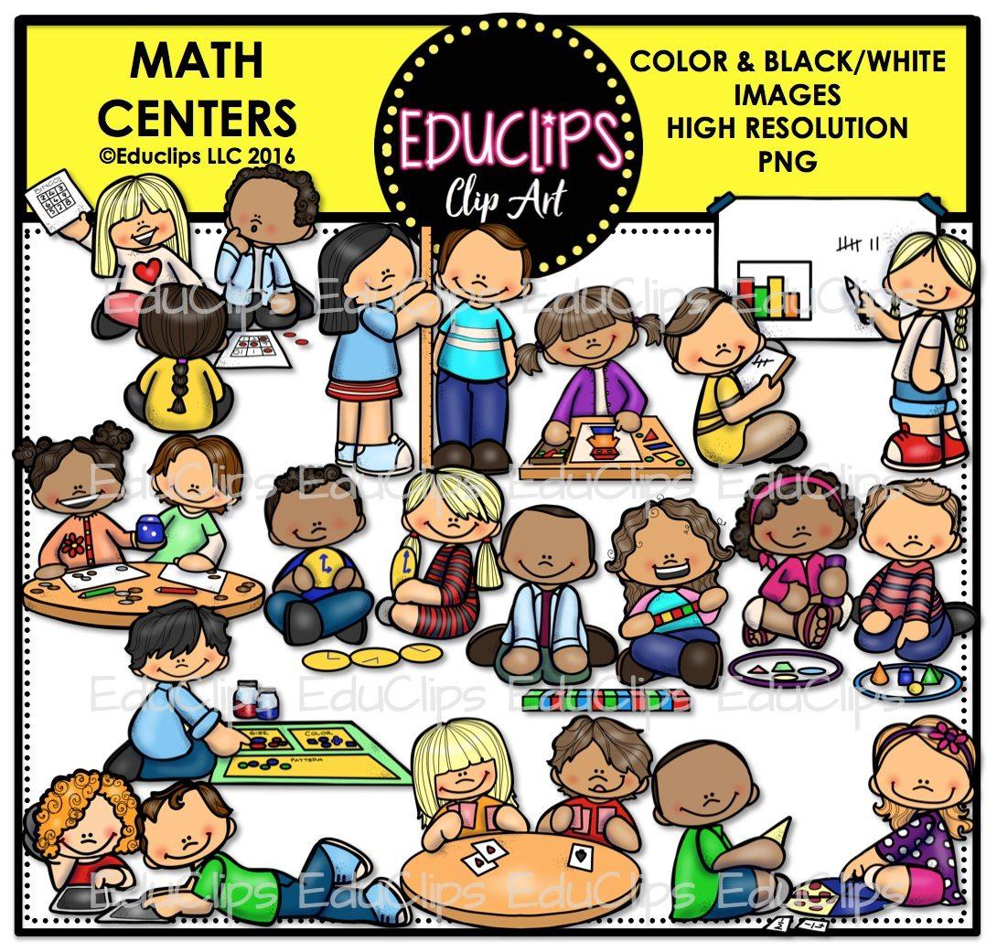 Math Centers Clip Art Bundle (Color and B&W).