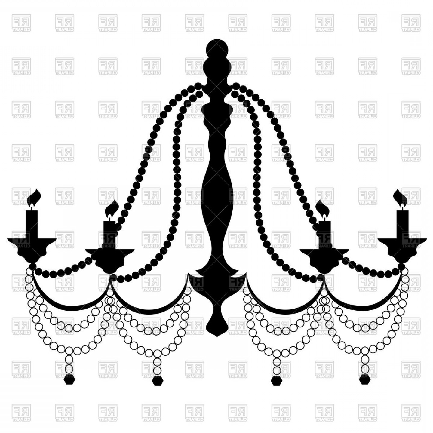 Retro Cryctal Chandelier With Candles Vector Clipart.