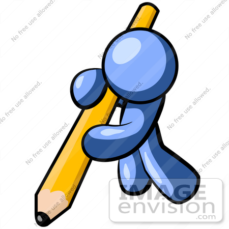 Clip Art Graphic of a Blue Guy Character Leaning Heavily While.