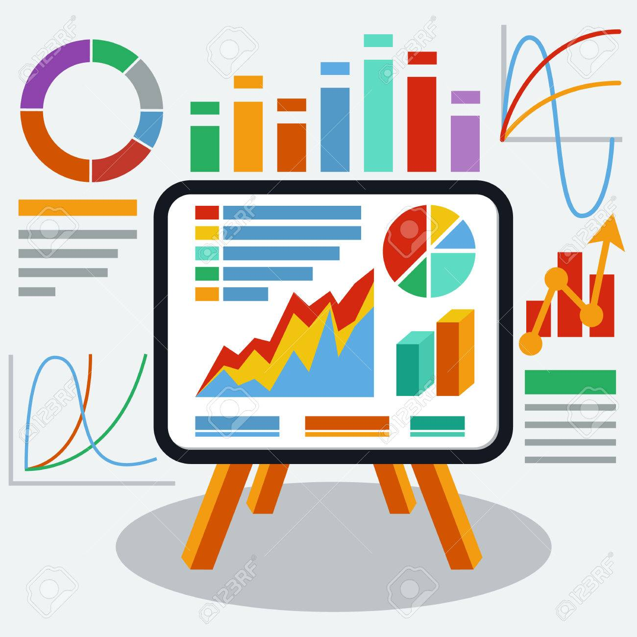 Stand with charts graphs and parameters. Business concept of...