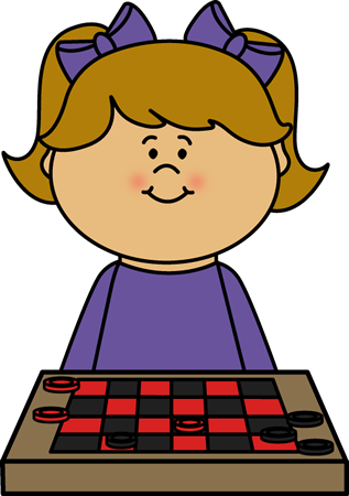 Girl Playing Checkers Clip Art.