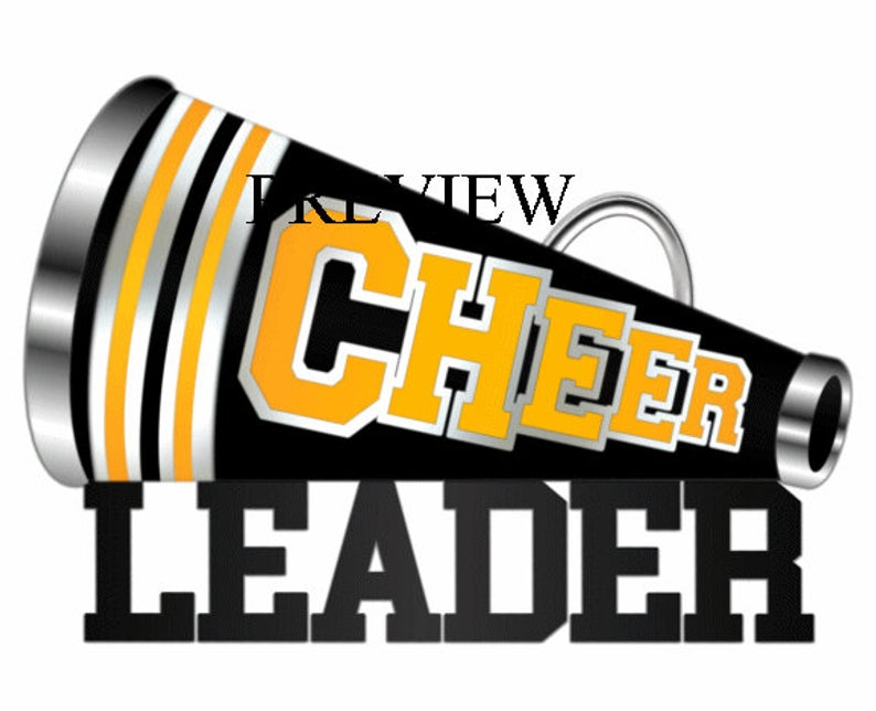Cheerleader Megaphone clip art, MANY COLORS, black yellow gold cheer  clipart, cheer graphics, cheerleading t shirts, school, birthday party.