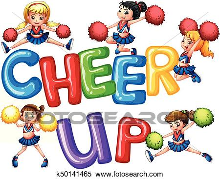 Cheerleaders and word cheer up Clipart.