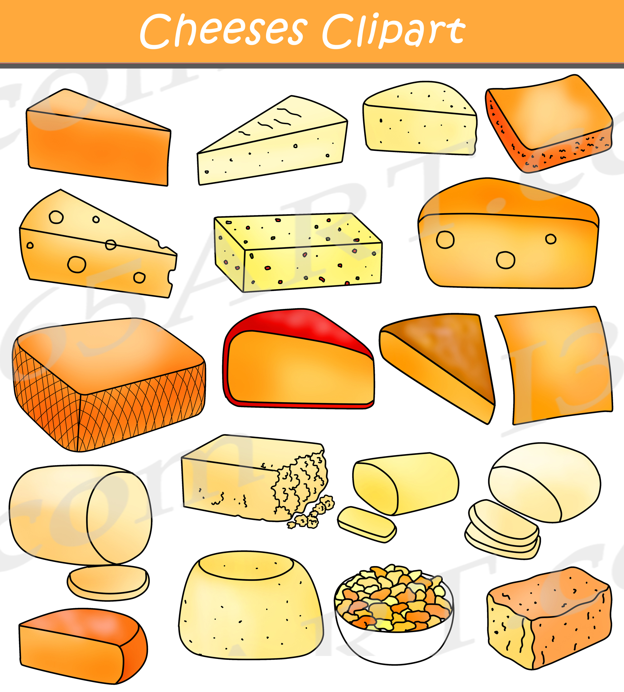 Cheese Clipart Graphics Commercial Download.