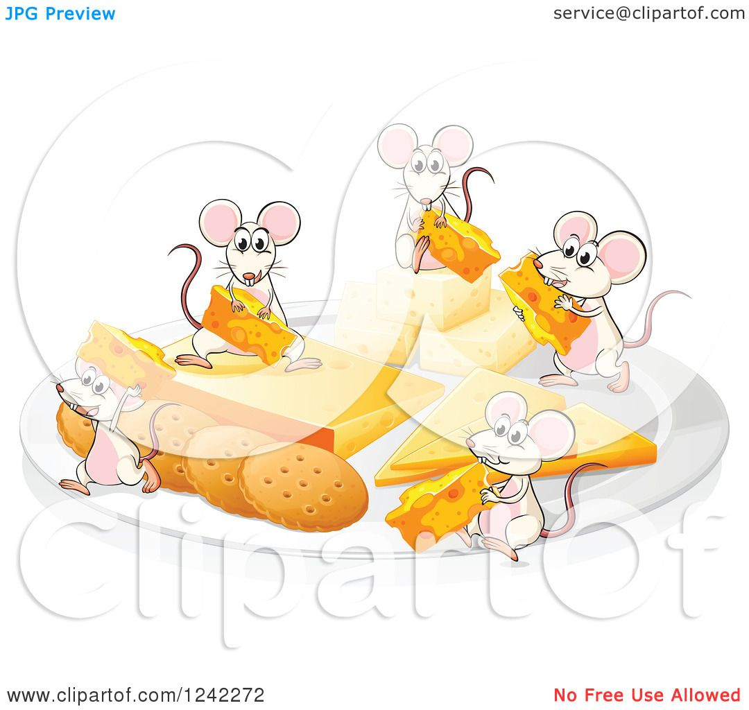 Clipart of a Plate of Cheese and Crackers with Mice.