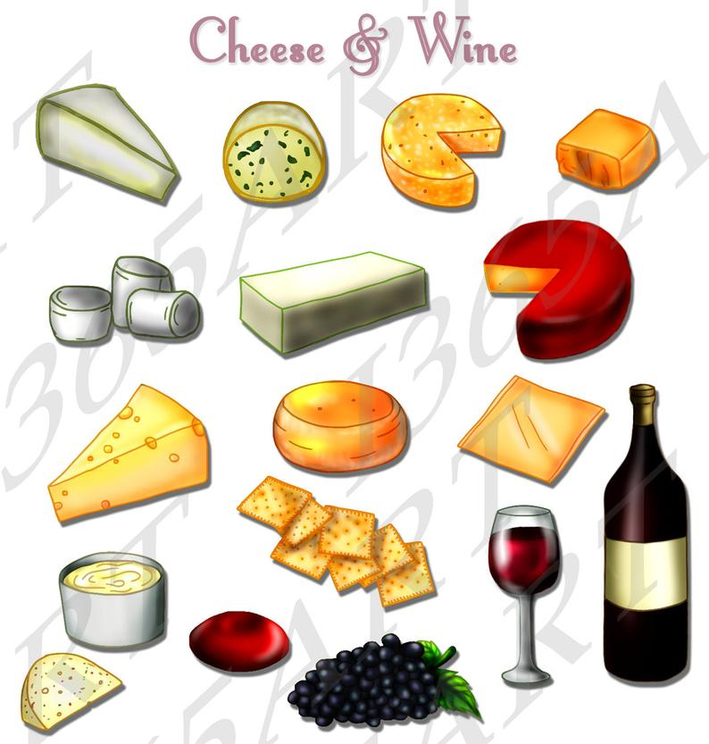 50% OFF Cheese Clipart, Crackers, Wine and Grapes, Clip art, Scrapbooking,  Embellishments, Party Invitations, PNG and JPEG, Commercial.