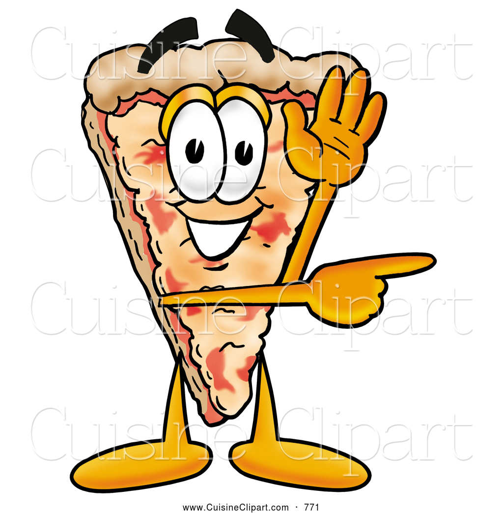 Cuisine Clipart of a Slice of Cheese Pizza Mascot Cartoon Character.