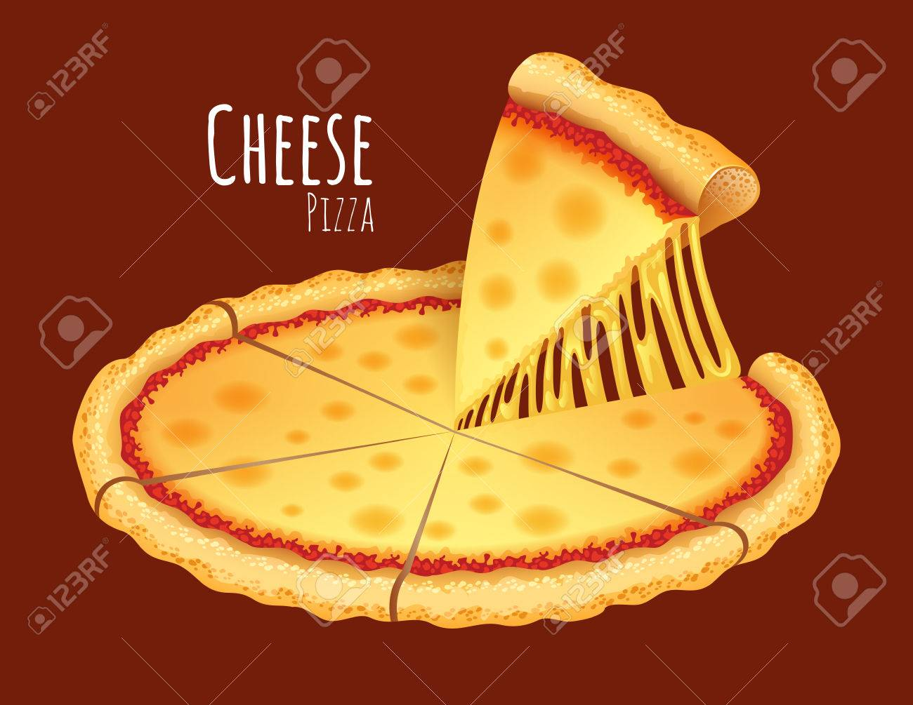 A vector illustration of a cooked Cheese Pizza.