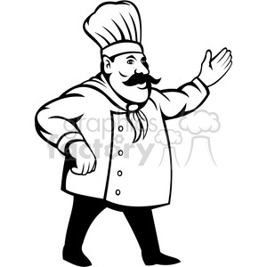 chef holding out his hand black white clip art clipart. Royalty.