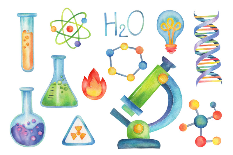 Science Party watercolor clipart,Chemistry By Vivitta.