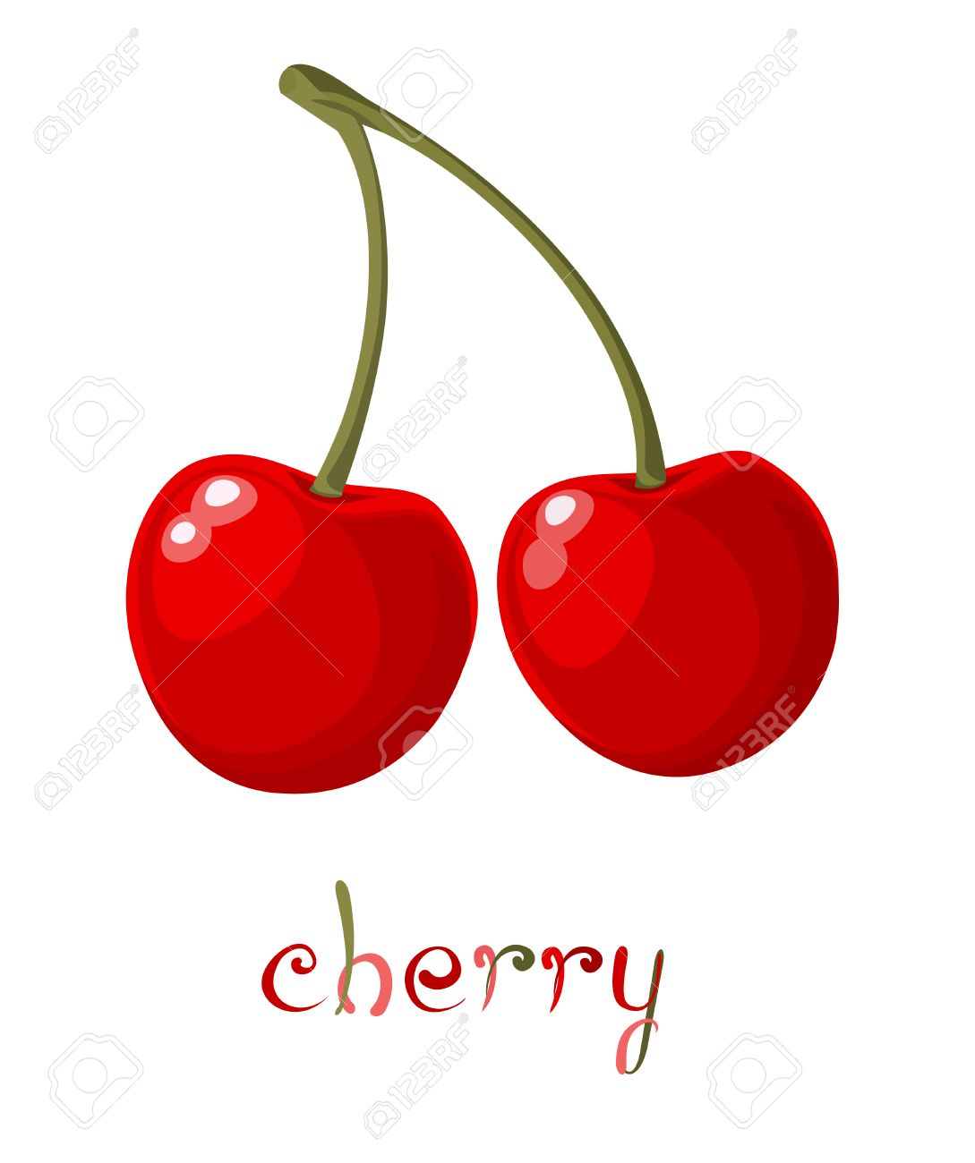 Red Cherry. Illustration of brunch fresh ripe cherry. A couple...