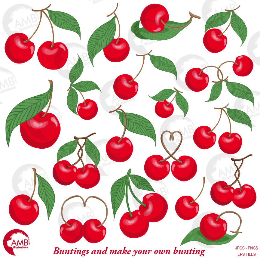 Cherry Clipart, cherries clipart, small berries, berry cherry clipart,  AMB.