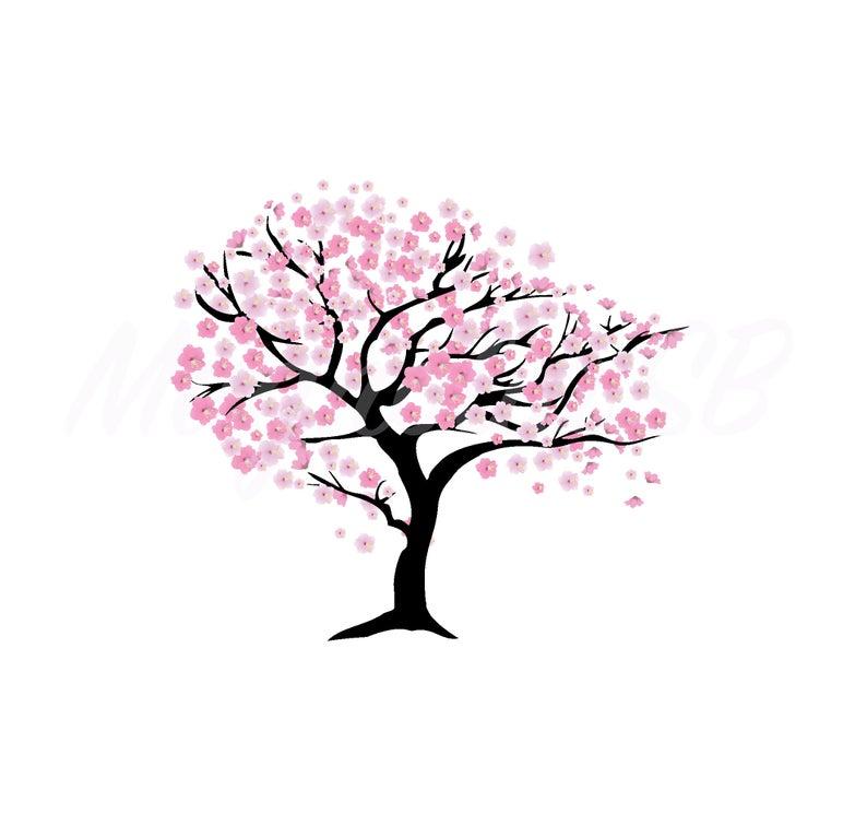 Cherry Tree digital clip art, Cherry Tree printable card, Cherry Blossom  Tree printable art, Cherry Tree vector, EPS, instant download.